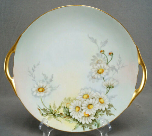 Thomas Bavaria Hand Painted Signed B Sprucehank White Daisies & Gold Cake Plate