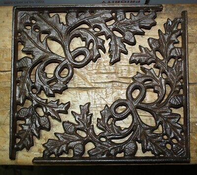 2 Cast Iron Antique Style OAK LEAF Brackets Garden Braces Shelf Bracket HD ACORN