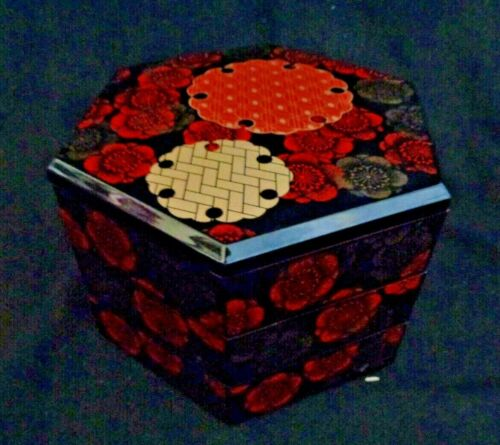 Red Black Lacquer 6 Sided Stacking Box Jewelry Vanity Cosmetic Holder Asian Art