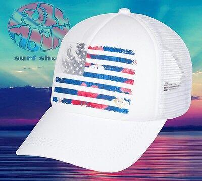 New ROXY Truckin 4th Of July American Flag Womens Snapback Trucker Hat - Womens Trucker Hat