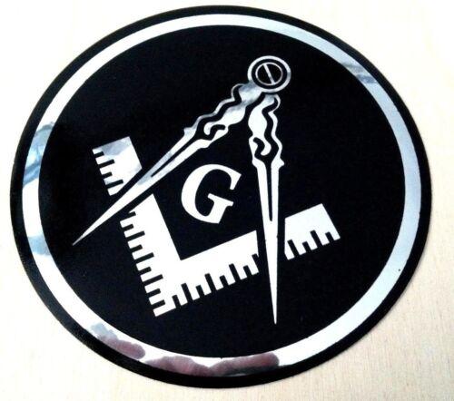 "Masonic Decal Silver 3.5"" Logo FreeMason Car Black Chrome Freemasonry Sticker"