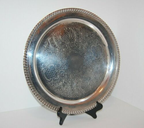 """Vintage Leonard Silver Plate Large Round Serving Tray 15"""""""
