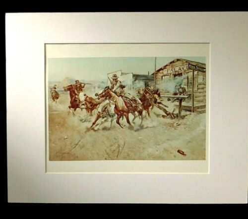 """Charles M Russell """"Smoke of A.45"""" 11 x 14 Matted Western Print"""