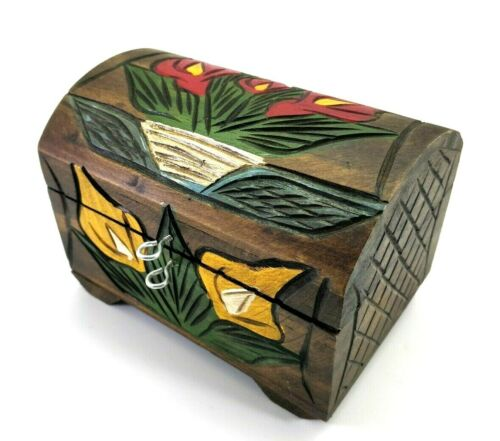 Alcatraz Jewelry Box Carved Wood Mexican Crafts Calla Lilies