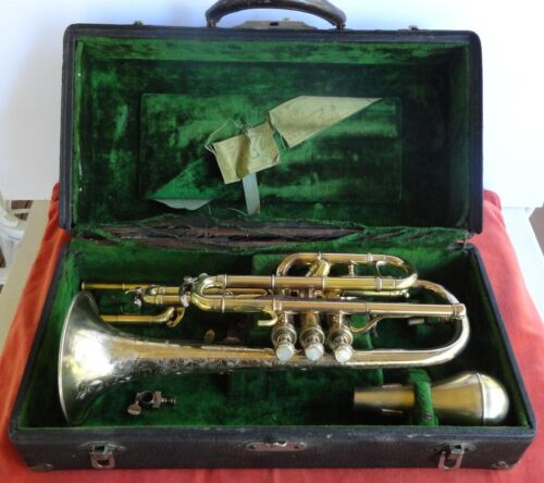 RARE Conn Cornet 1913 Gold Plated Very Nice Condition.