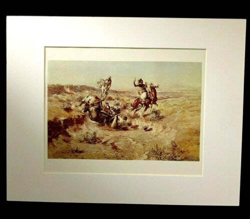 """Charles M Russell """"The Broken Rope"""" 11 x 14 Matted Western Print"""