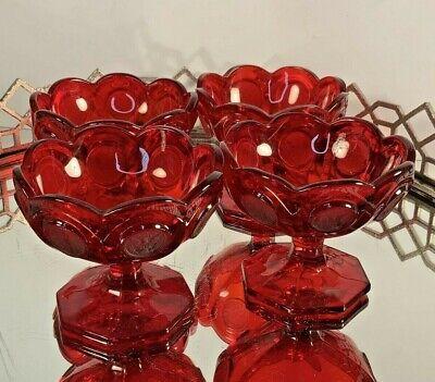 Coin Glass Sherbet Red Fostoria Elegant Set 4 Vintage #N19