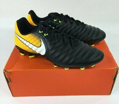 Nike Mens Tiempo Ligera IV Leather FG Soccer Cleats Yellow Black Size (Nike Mens Tiempo Ligera Iv Fg Soccer Cleats)