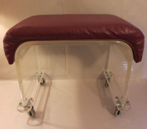 VINTAGE LUCITE ACRYLIC ROLLING BENCH STOOL