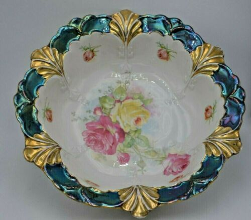 Antique German Made Iridescent Serving Bowl Green White with Floral Pattern