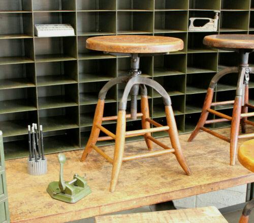 Antique Industrial Vtg Eugene Dietzgen Co Drafting Stool Chair Factory 1920s #1