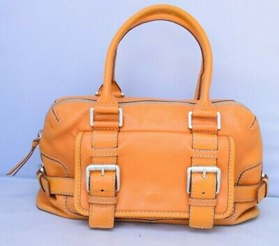 Michael Kors Vintage Orange Leather Buckle Satchel Shoulder Handbag Purse