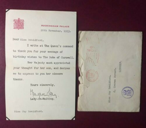 1953 Buckingham Palace letter from Queen Elizabeth II - Prince Charles Birthday