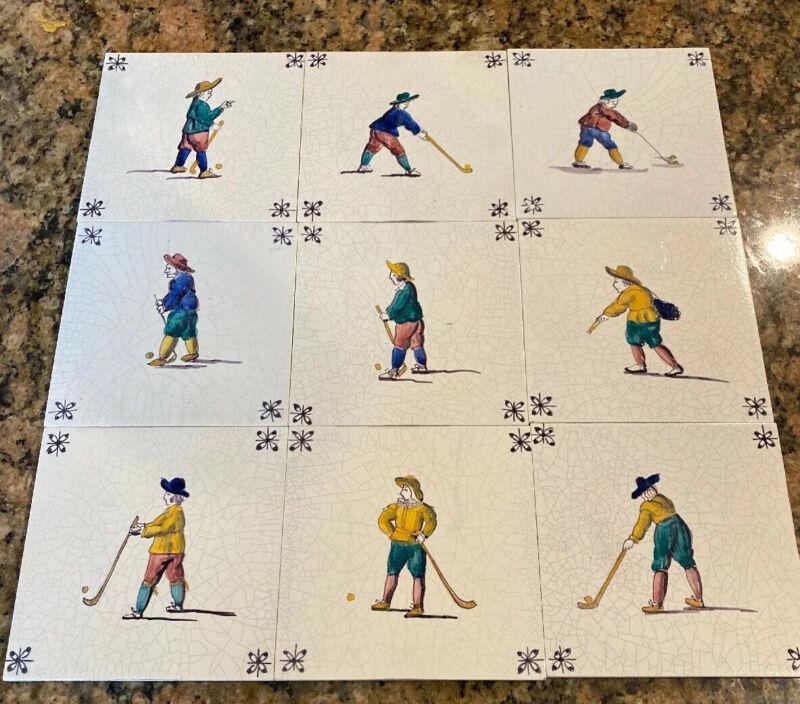 Lot of 9 Vintage westraven utrecht Holland Golf Dutch Hand Painted Tiles