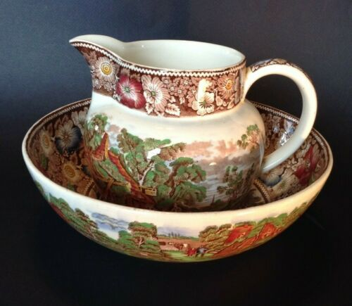 Burslem Midwinter - Large Pitcher And Bowl Set - Rural England - Brown Green Red