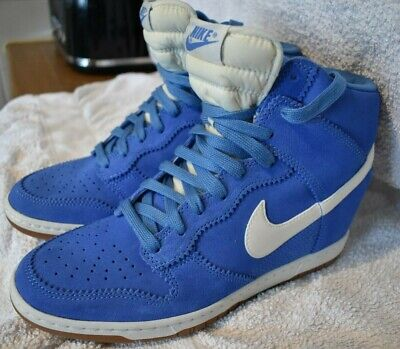 Nike Dunk Sky Hi Blue Suede Wedge Lace Up Trainers Size UK 8, EUR 42.5, US 10.5