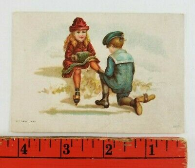 Vintage 1900's Girl Hurt Foot Ice Skating Boy Helping Pittsburgh Victorian Card