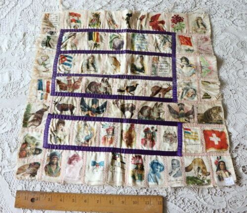 "Rare Antique c1880 American Tobacco Silk Patchwork~Dogs, Animals,People~18""Sq"