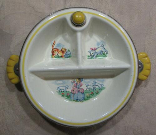 VINTAGE CHILDRENS WARMING DINNER PLATE FEATURING LITTLE BO PEEP RARE ITEM
