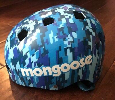 Mongoose MG78282 Blue White Camouflage Adjustable Youth Bike Skateboard Helmet