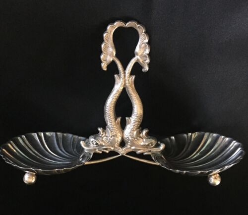 VINTAGE SPANISH 915 SILVER FIGURAL DOUBLE DOLPHIN SHELL SERVING DISH ESTATE FIND