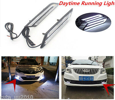 New 2 Pcs Universal HID White High Power Blade Shape LED Car DRL Daytime Light