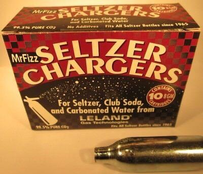 50 Fizzini compatible CO2 Leland soda water 8g seltzer cartridge  5 x 10 Le C02