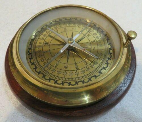"Nautical Antique Brass Compass, 51/2"" Wooden Base,  Not for navigational purpose"