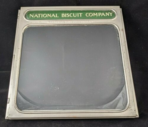 NATIONAL BISCUIT COMPANY - Tin hinged glass advertising display box cover