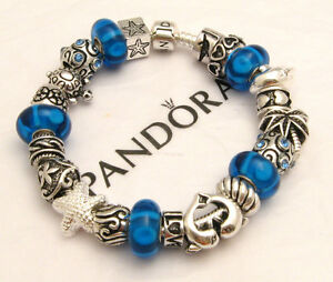 Authentic pandora bracelet beach love charm bead blue dolphin starfish