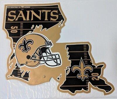 New Orleans Saints LA State Die Cut Outline Football Wall Sign Decoration - New Orleans Saints Decor