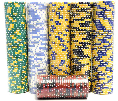 1,000 Piece Poker Chips Set Blackjack Composite Clay 11.5g Assorted-High Quality