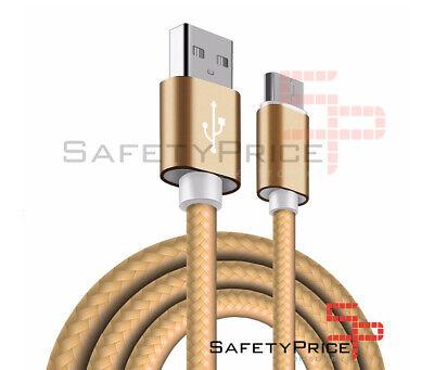 CABLE USB-C ALUMINIO TRENZADO MÓVIL TABLET TIPO C 1m ORO NYLON CARGA...