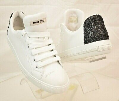 NIB MIU MIU WHITE LEATHER BLACK GLITTER LOGO CAP TOE LACE LOW TOP SNEAKERS 41