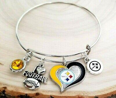 Pittsburgh Steelers NFL Heart Charm Logo Bracelet Jewelry