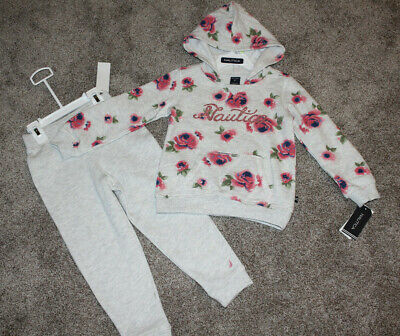 Nautica Toddler Girl Gray Glitter Floral Hooded Sweatshirt Pants Set Size 4T NWT