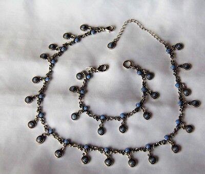 Premier Designs Blue Rhinestone Necklace And Bracelet Set   Silver Tone