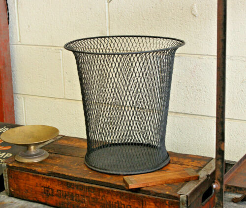 Vintage Antique Industrial Nemco Wire Mesh Trash Can Waste Paper Basket 1920