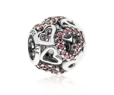 Authentic Pandora Silver Falling In Love  Fancy Pink Charm #791424CZ