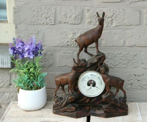 Rare Antique Swiss Black Forest wood carved hunt deer Animal Barometer