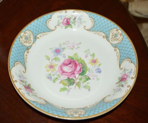 MYOTT&SON STAFFORDSHIRE ENGLAND CABBAGE ROSE BLUE PATTERN SOUP/CEREAL PLATE NEW