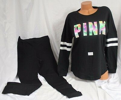 (Victoria's Secret Pink~L~set~Open-Back Varsity Crew Tee & Legging~Tropical Black)