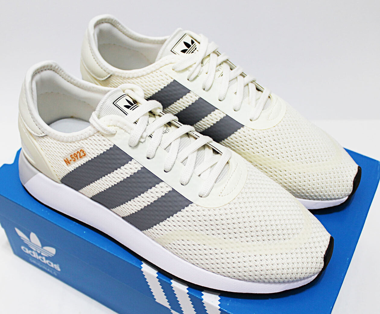 2ee1bd534a0 $90 NIB ADIDAS N-5923 Men's Cream-White-Grey Low Sneakers Trainers running  shoes