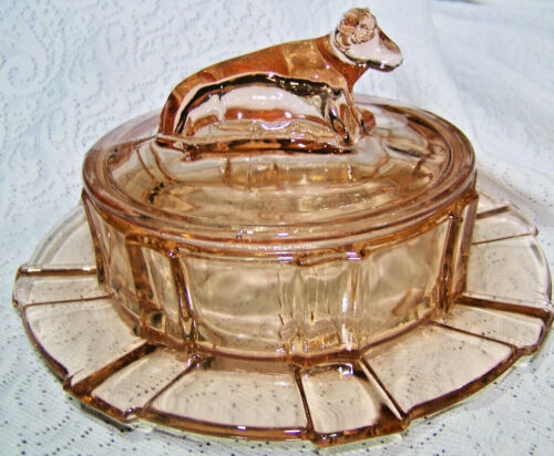 Vintage round Butter dish with lying cow on lid