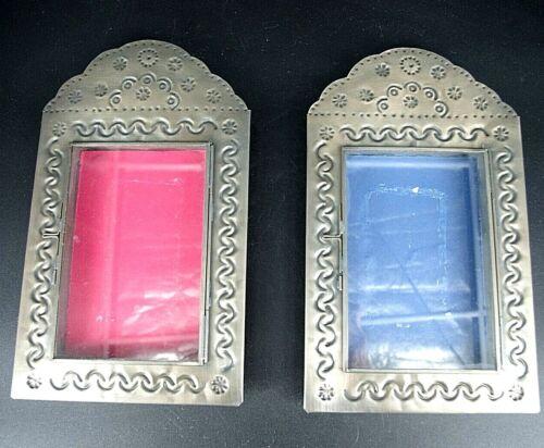 2 Mexico Punched Tin Nicho Shadow Box Frames Glass Door Wall Case Folk Art