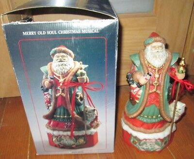 - 1993 MERRY OLD SOUL MUSICAL SANTA CLAUS, CHRISTMAS WIND UP MUSIC BOX FIGURINE