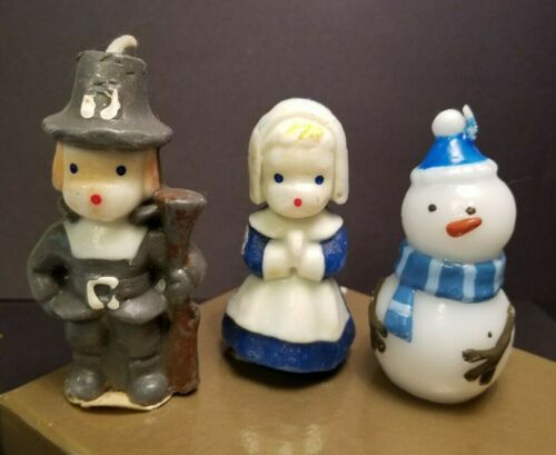 "2 VINTAGE GURLEY PILGRIM BOY & GIRL W/ LABELS CANDLES + SNOWMAN CANDLE - 3"""