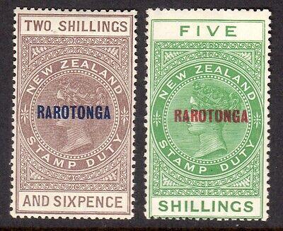 COOK ISLANDS 1921-23 Rarotonga Postal Fiscal 2s6d & 5s var M, SG 77, 78 cat £55+
