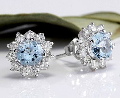 3.25Ct Natural Aquamarine and Diamond 14K Solid White Gold Earrings