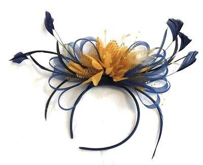 Navy Blue and Mustard Yellow Fascinator Headband Wedding Race](Navy And Yellow Wedding)